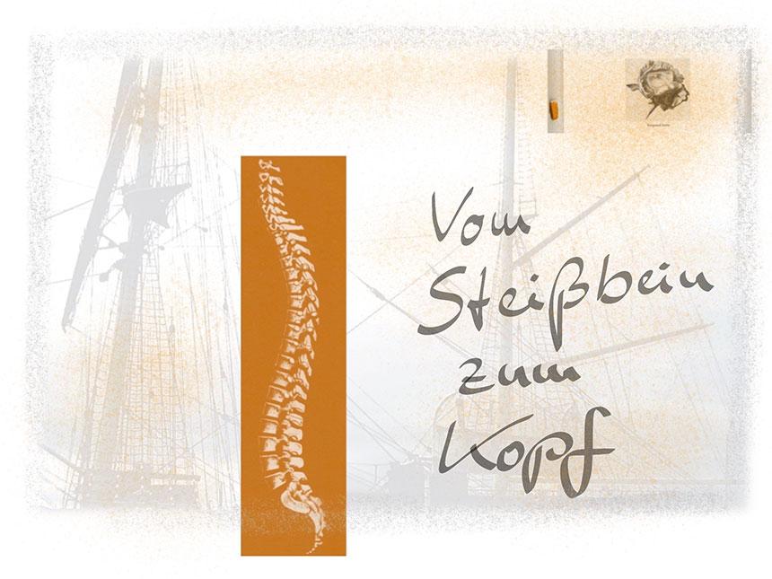 Grafik mit Wirbelsäule und Schiffsmasten